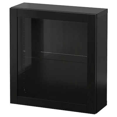 """BESTÅ Wall-mounted cabinet combination, black-brown/Sindvik black-brown clear glass, 23 5/8x8 5/8x25 1/4 """""""