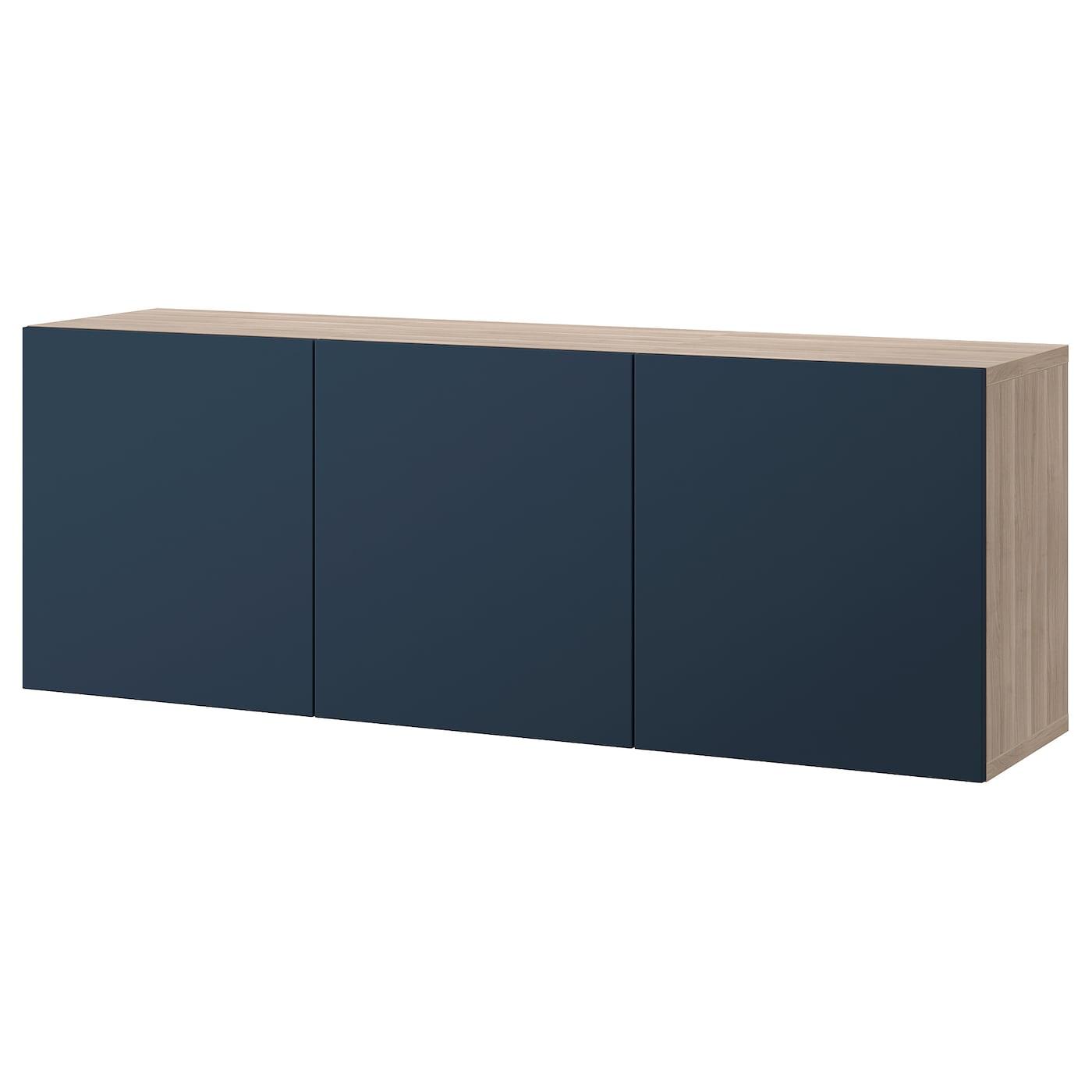 Wall Mounted Cabinet Combination Besta Walnut Effect Light Gray Notviken Blue