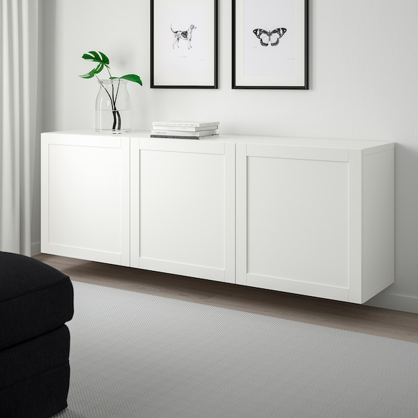 "BESTÅ Wall-mounted cabinet combination, white/Hanviken white, 70 7/8x16 1/2x25 1/4 """
