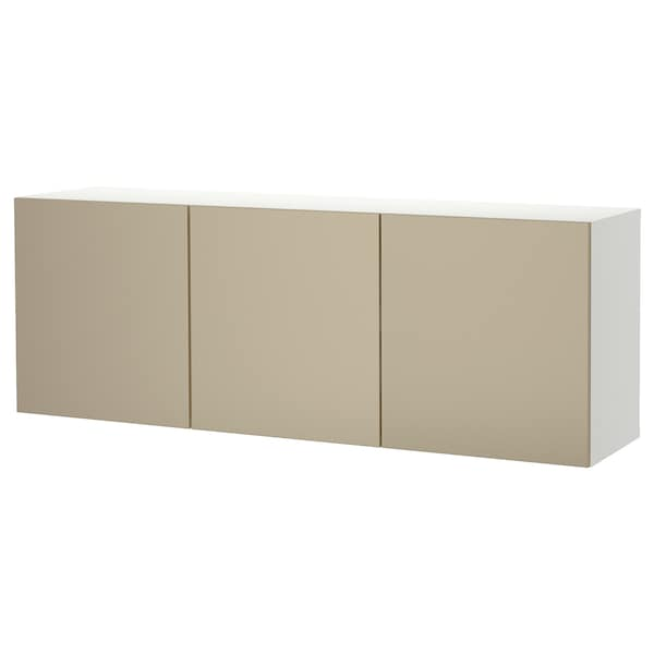 BESTÅ Wall-mounted cabinet combination, white/Riksviken light bronze effect, 70 7/8x16 1/2x25 1/4 ""