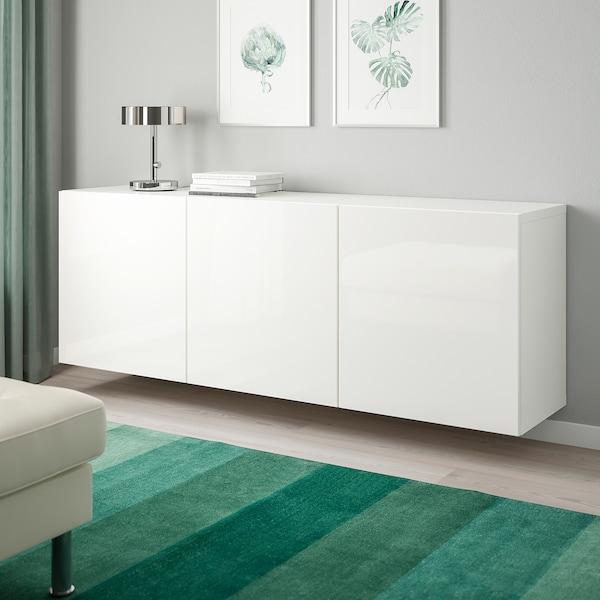 "BESTÅ Wall-mounted cabinet combination, white/Selsviken high-gloss/white, 70 7/8x16 1/2x25 1/4 """
