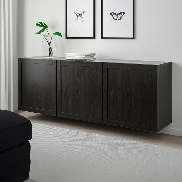 "BESTÅ wall-mounted cabinet combination black-brown/Hanviken black-brown 70 7/8 "" 16 1/2 "" 25 1/4 """