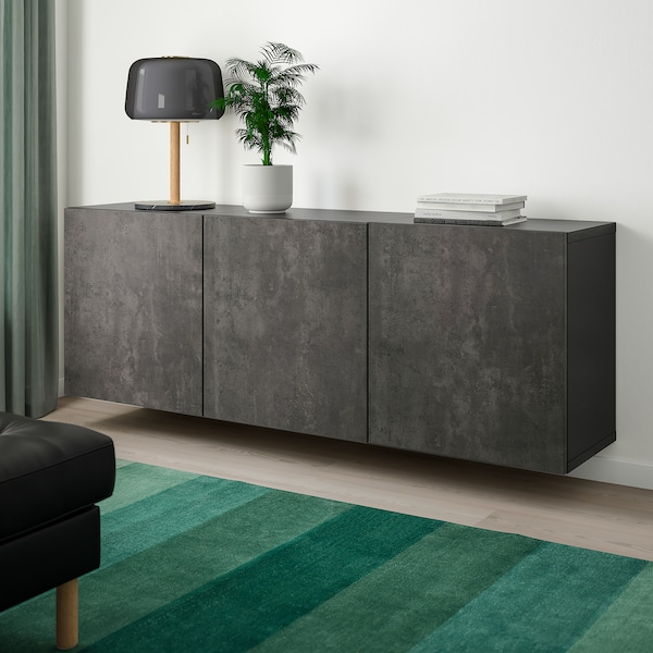 "BESTÅ wall-mounted cabinet combination black-brown/Kallviken concrete effect 70 7/8 "" 16 1/2 "" 25 1/4 """