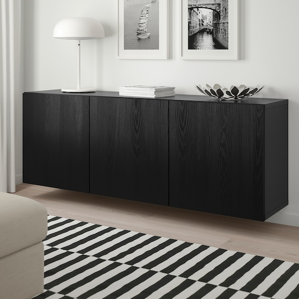 "BESTÅ wall-mounted cabinet combination black-brown/Timmerviken black 70 7/8 "" 16 1/2 "" 25 1/4 """