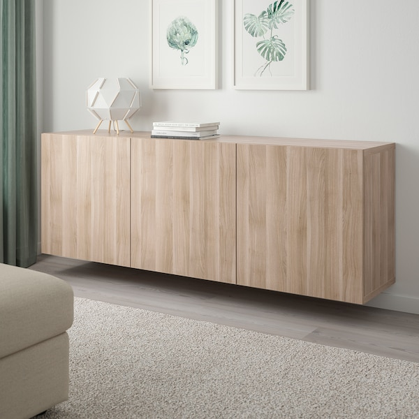 "BESTÅ wall-mounted cabinet combination walnut effect light gray/Lappviken walnut effect light gray 70 7/8 "" 16 1/2 "" 25 1/4 """