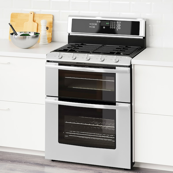 Range w/double oven and gas cooktop BETRODD Stainless steel