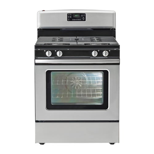 BETRODD Range with gas cooktop, Stainless steel