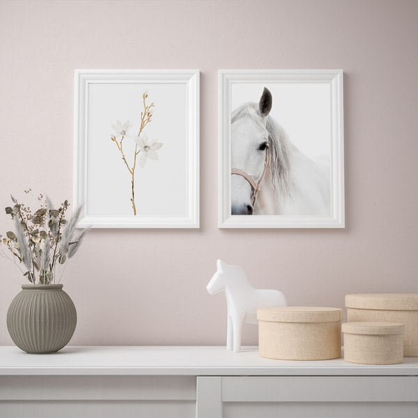 """BILD Poster, white flowers and horse, 12x16 """""""