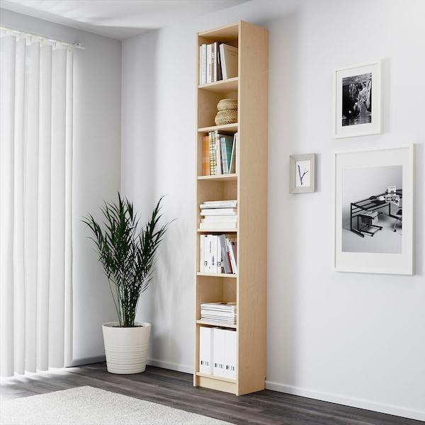 "BILLY bookcase birch veneer 15 3/4 "" 11 "" 93 1/4 "" 31 lb"
