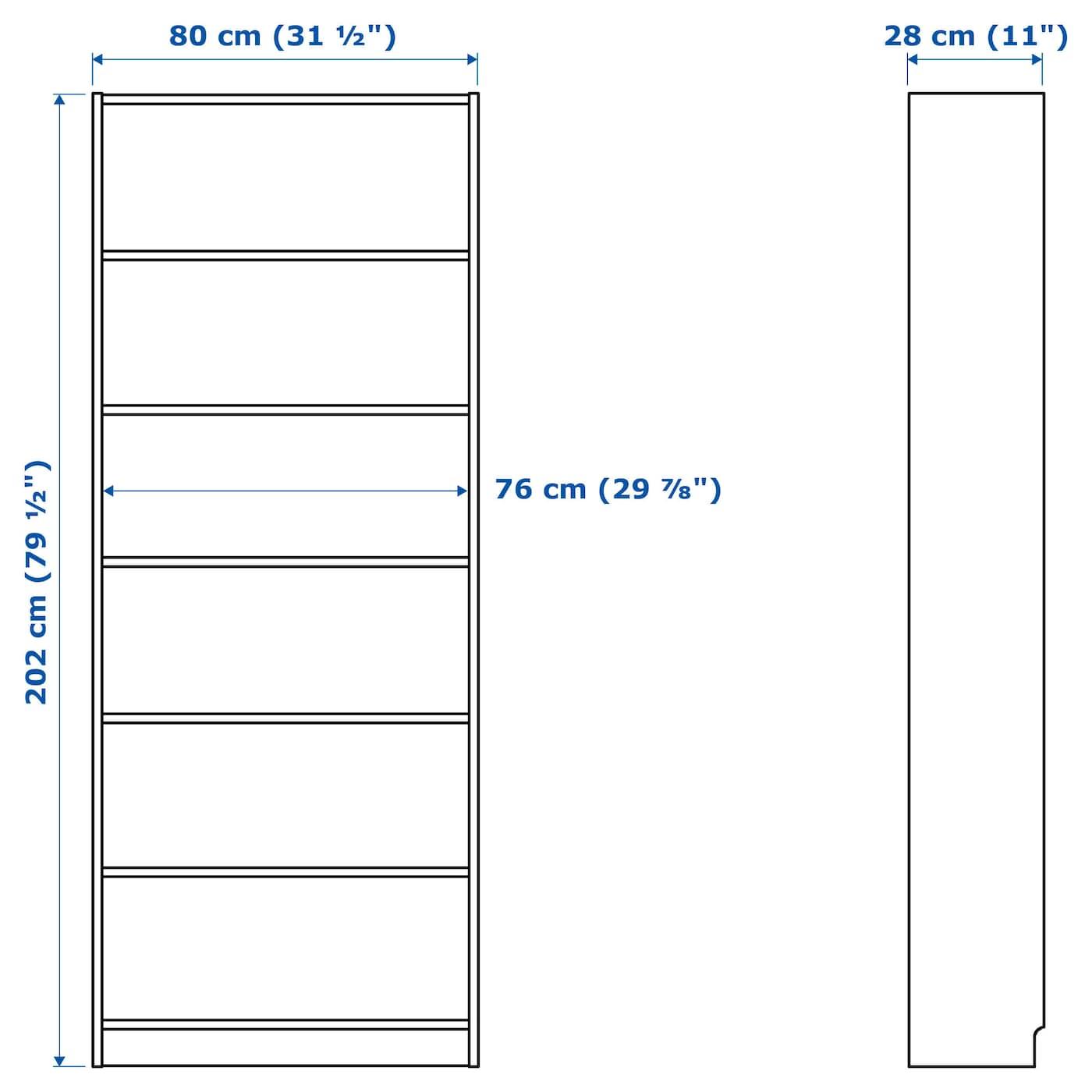 "BILLY Bookcase - brown ash veneer 31 1/2x11x79 1/2 """