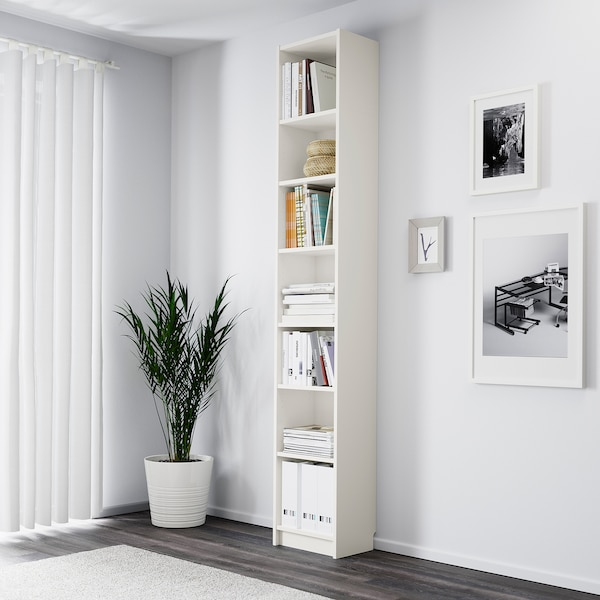 "BILLY Bookcase, white, 15 3/4x11x93 1/4 """