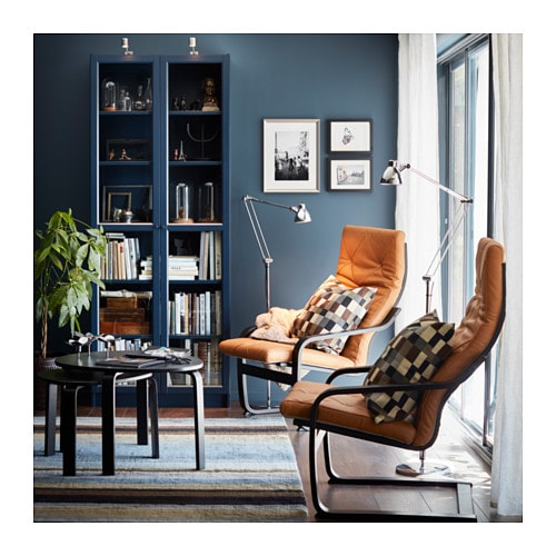 BILLY Bookcase with glass-door - beige - IKEA