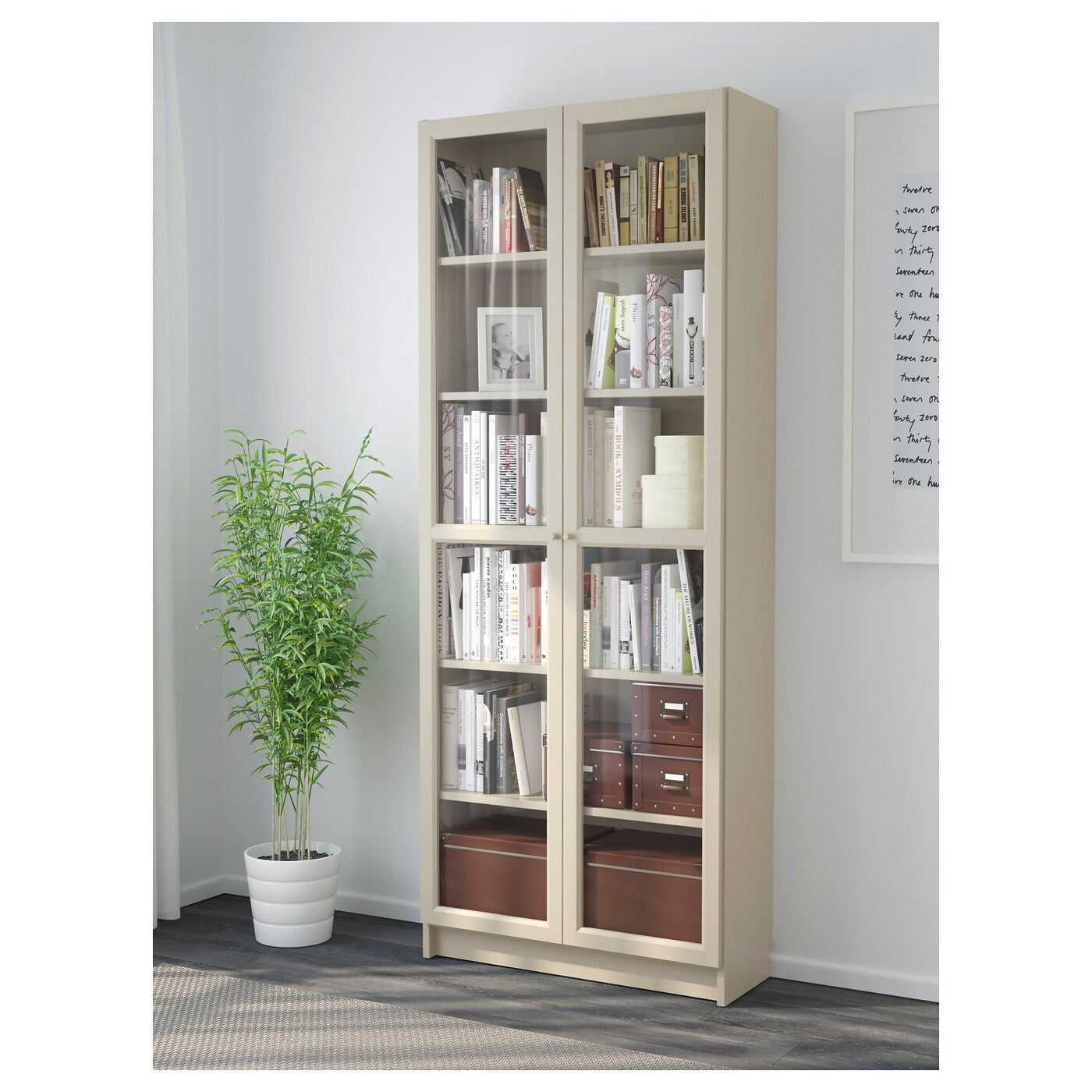 BILLY - Bookcase with glass doors, beige