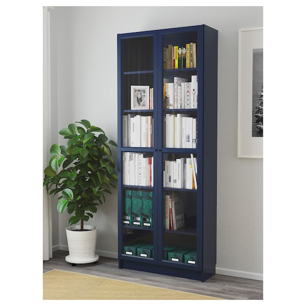 "BILLY bookcase with glass doors dark blue 31 1/2 "" 11 3/4 "" 79 1/2 "" 66 lb"
