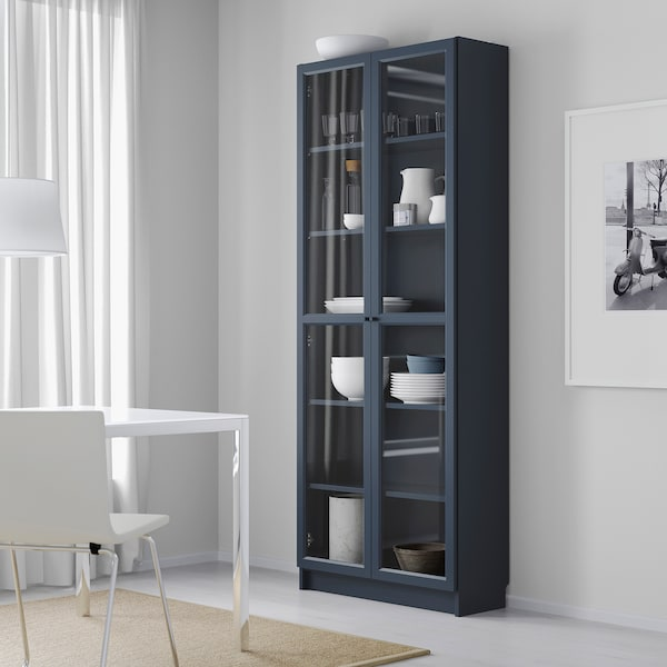 BILLY Bookcase with glass doors, dark blue, 31 1/2x11 3/4x79 1/2 ""