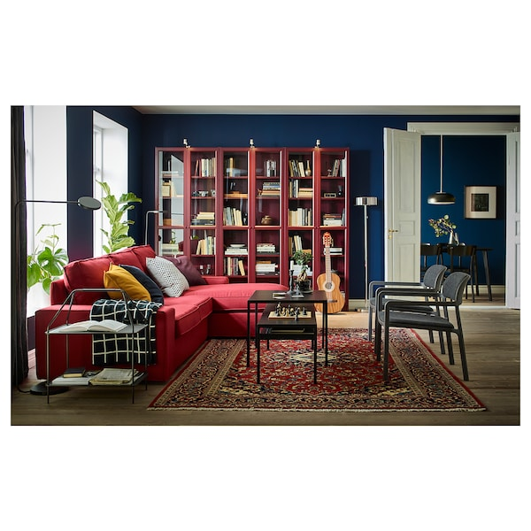 """BILLY Bookcase with glass doors, dark red, 31 1/2x11 3/4x79 1/2 """""""