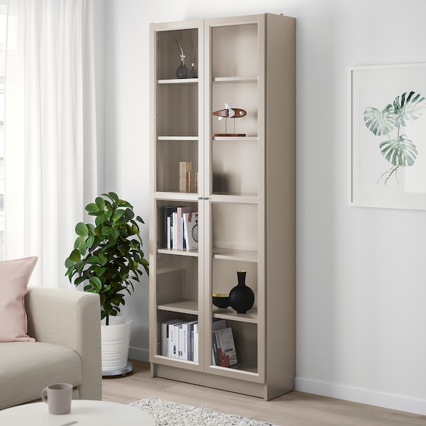 """BILLY Bookcase with glass doors, gray/metallic effect, 31 1/2x11 3/4x79 1/2 """""""