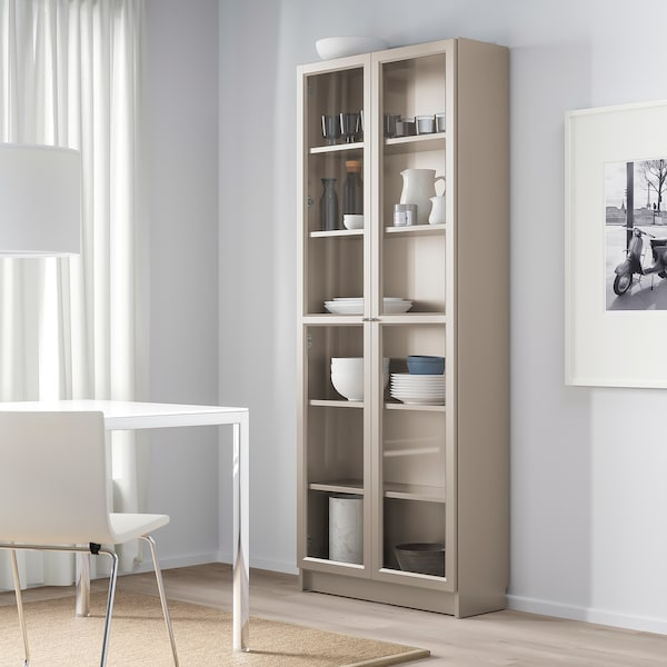 """BILLY bookcase with glass doors gray/metallic effect 31 1/2 """" 11 3/4 """" 79 1/2 """" 66 lb"""