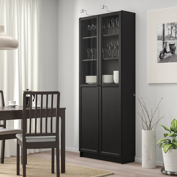 """BILLY Bookcase with panel/glass doors, black-brown, 31 1/2x11 3/4x79 1/2 """""""