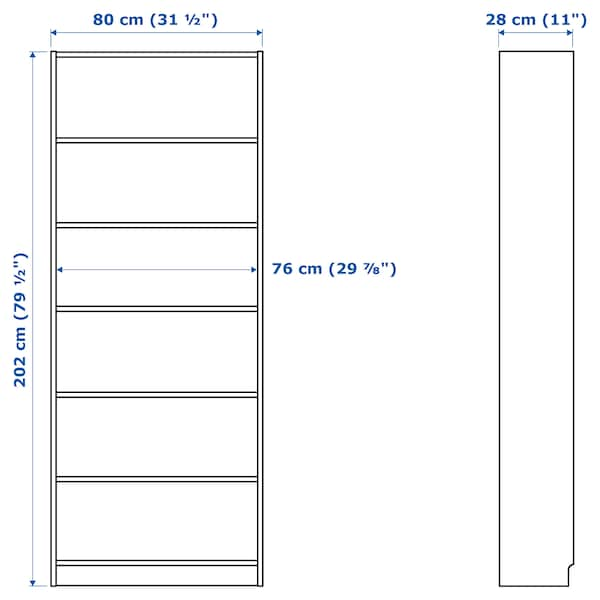 BILLY Bookcase with panel/glass doors, white, 31 1/2x11 3/4x79 1/2 ""