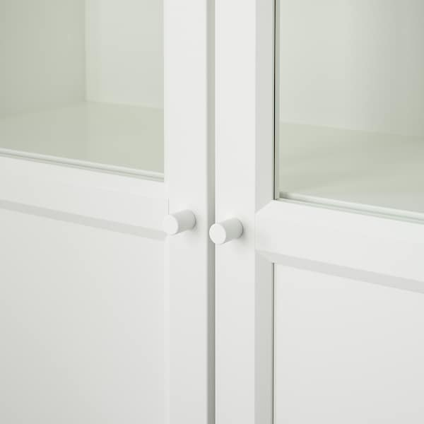 """BILLY Bookcase with panel/glass doors, white, 31 1/2x11 3/4x79 1/2 """""""