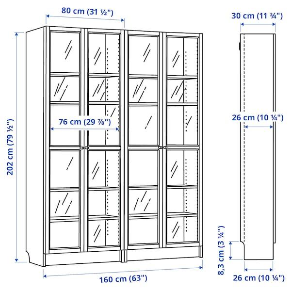 "BILLY / OXBERG Bookcase, birch veneer/glass, 63x11 3/4x79 1/2 """