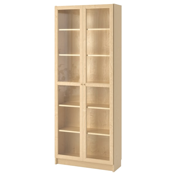 "BILLY / OXBERG Bookcase, birch veneer, 31 1/2x11 3/4x79 1/2 """