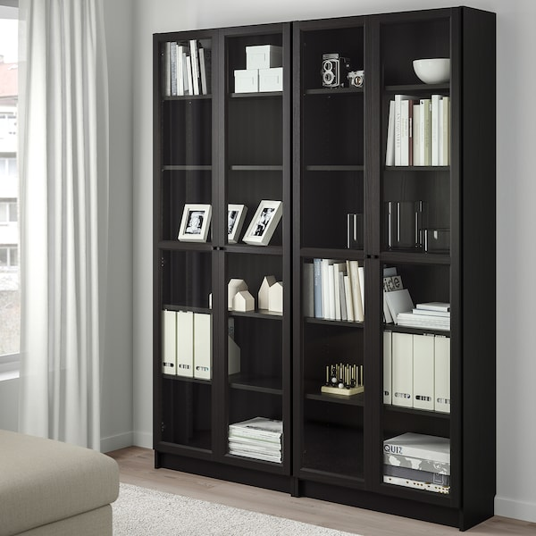 """BILLY / OXBERG bookcase black-brown/glass 63 """" 11 3/4 """" 79 1/2 """" 66 lb"""
