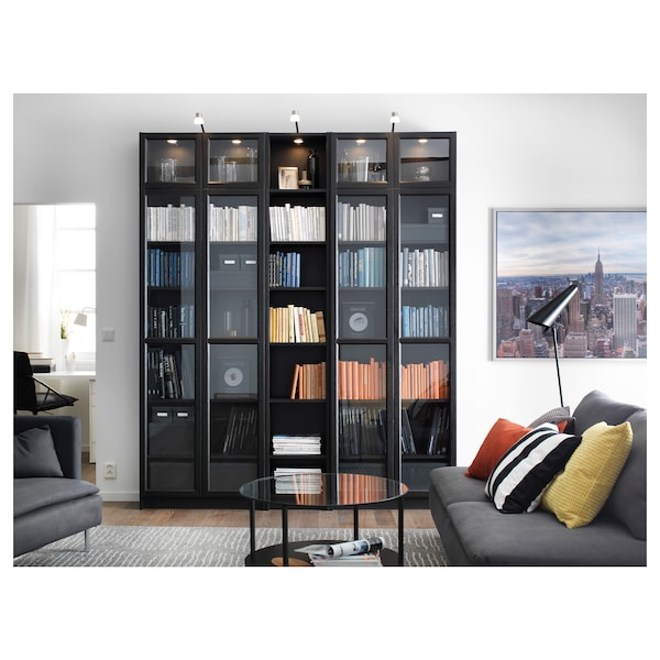 "BILLY / OXBERG Bookcase, black-brown, 78 3/4x11 3/4x93 1/4 """