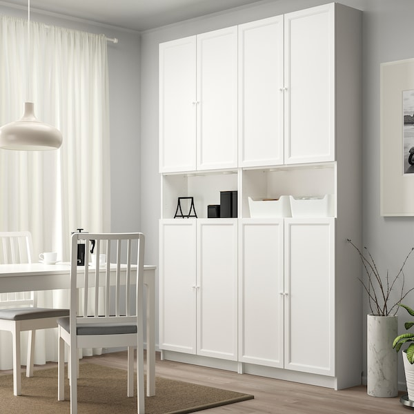 """BILLY / OXBERG Bookcase+height extension & doors, white, 63x11 3/4x93 1/4 """""""