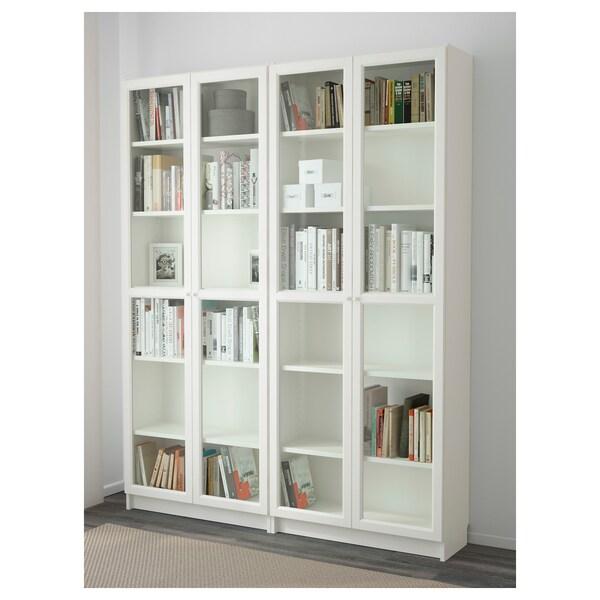 Billy Oxberg Bookcase White Glass 63x11 3 4x79 1 2