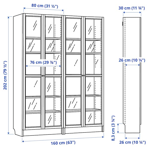 "BILLY / OXBERG Bookcase, white/glass, 63x11 3/4x79 1/2 """