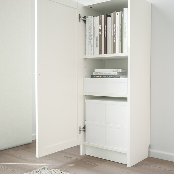 BILLY / OXBERG Bookcase with door, white, 15 3/4x11 3/4x41 3/4 ""