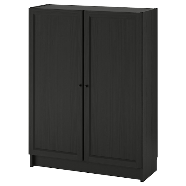 """BILLY / OXBERG Bookcase with doors, black-brown, 31 1/2x11 3/4x41 3/4 """""""