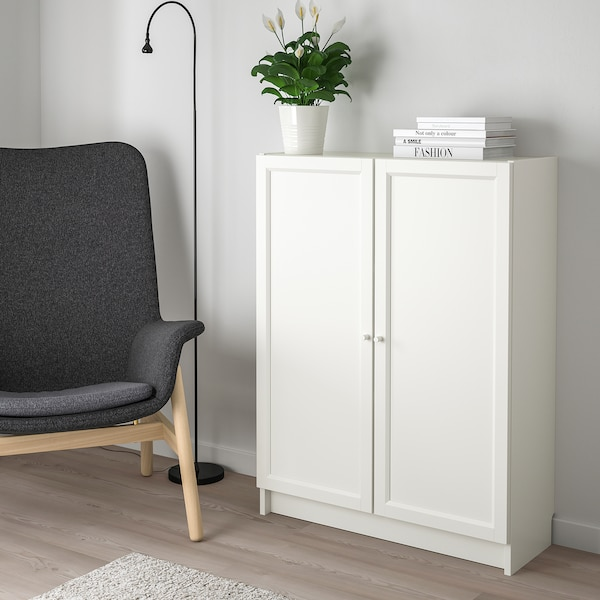"""BILLY / OXBERG Bookcase with doors, white, 31 1/2x11 3/4x41 3/4 """""""