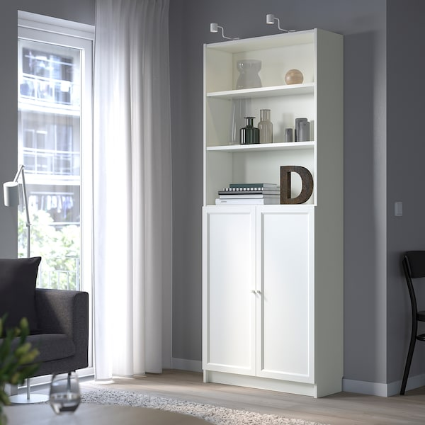 """BILLY / OXBERG Bookcase with doors, white, 31 1/2x11 3/4x79 1/2 """""""