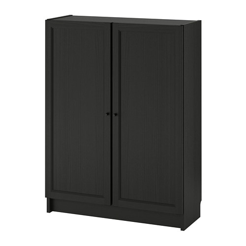 billy oxberg bookcase with doors black brown 80x30x106 cm ikea. Black Bedroom Furniture Sets. Home Design Ideas