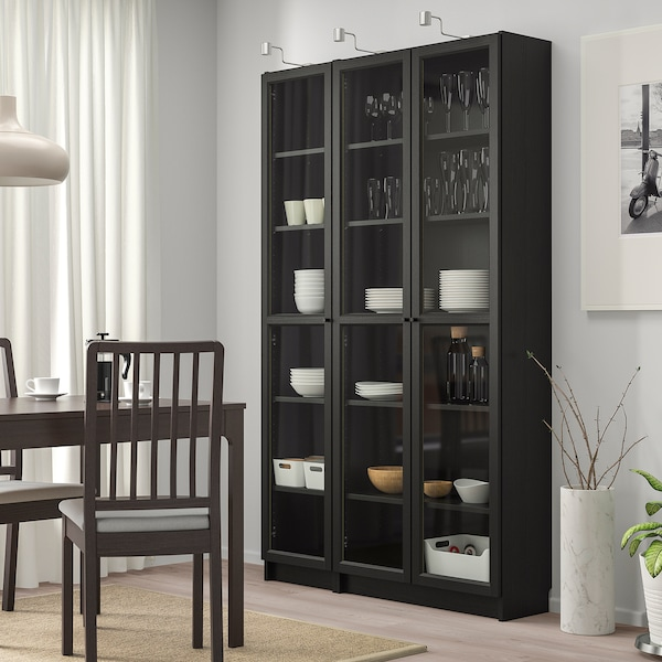 """BILLY / OXBERG Bookcase with glass doors, black-brown, 47 1/4x11 3/4x79 1/2 """""""
