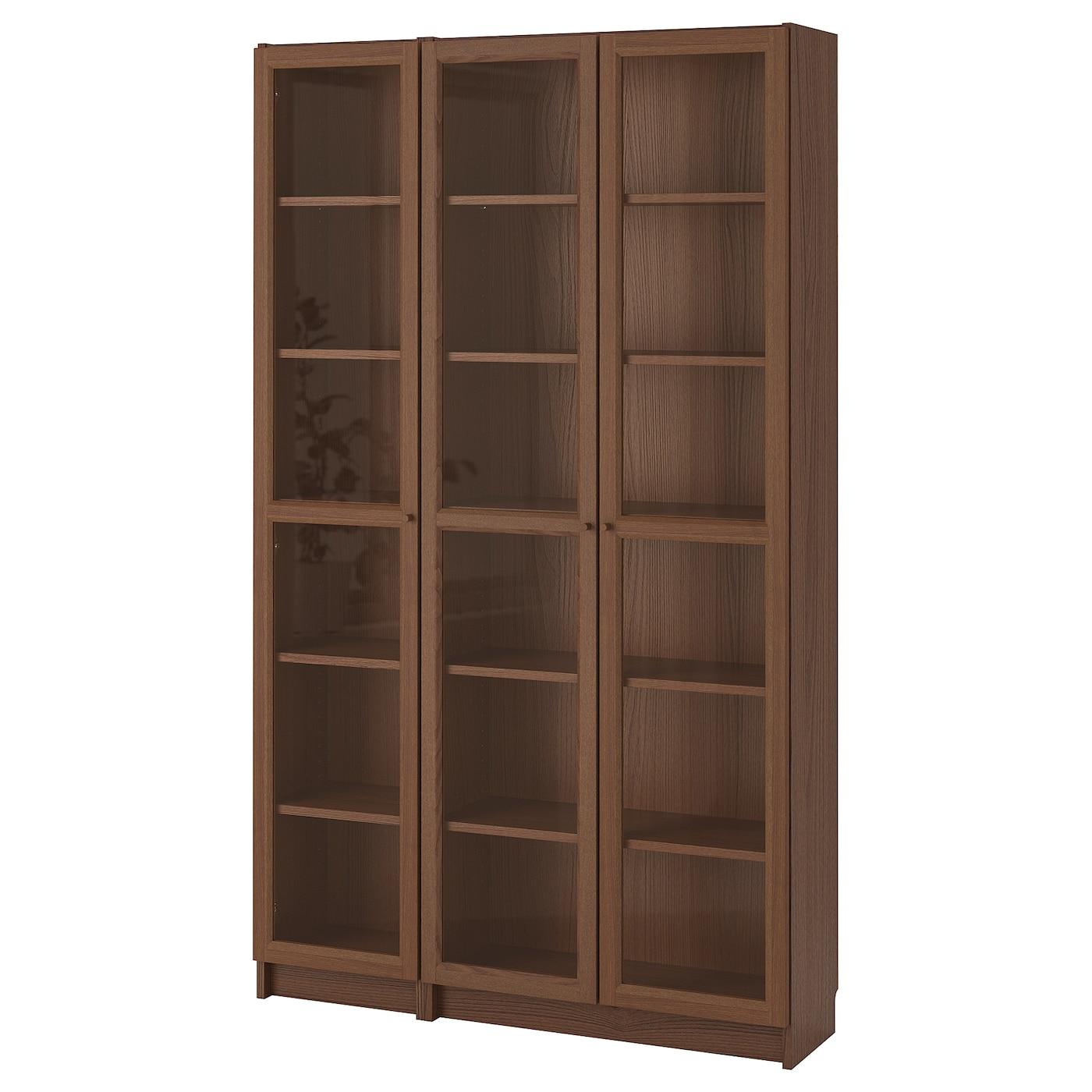 Bookcase With Glass Doors Billy Oxberg Brown Ash Veneer