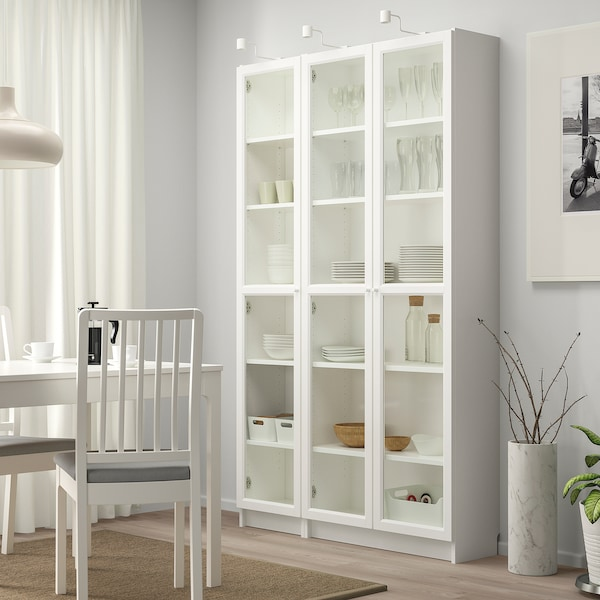"""BILLY / OXBERG Bookcase with glass doors, white, 47 1/4x11 3/4x79 1/2 """""""