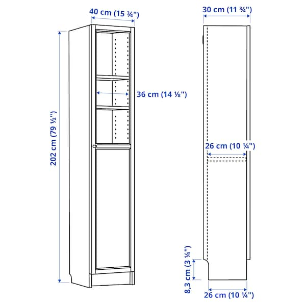 """BILLY / OXBERG Bookcase with panel/glass door, white/glass, 15 3/4x11 3/4x79 1/2 """""""