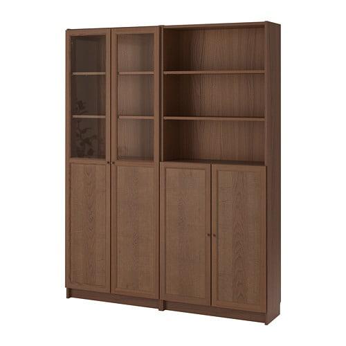 billy oxberg bookcase with panel glass doors brown ash veneer 160x30x202 cm ikea