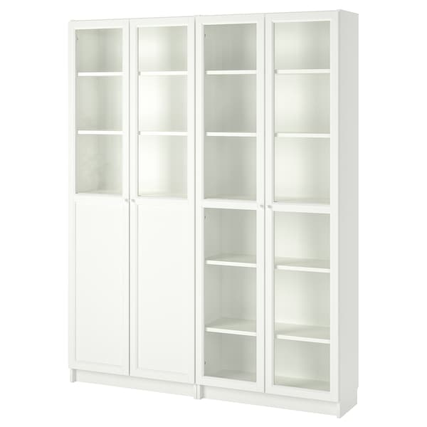 BILLY / OXBERG Bookcase with panel/glass doors, white/glass, 63x11 3/4x79 1/2 ""