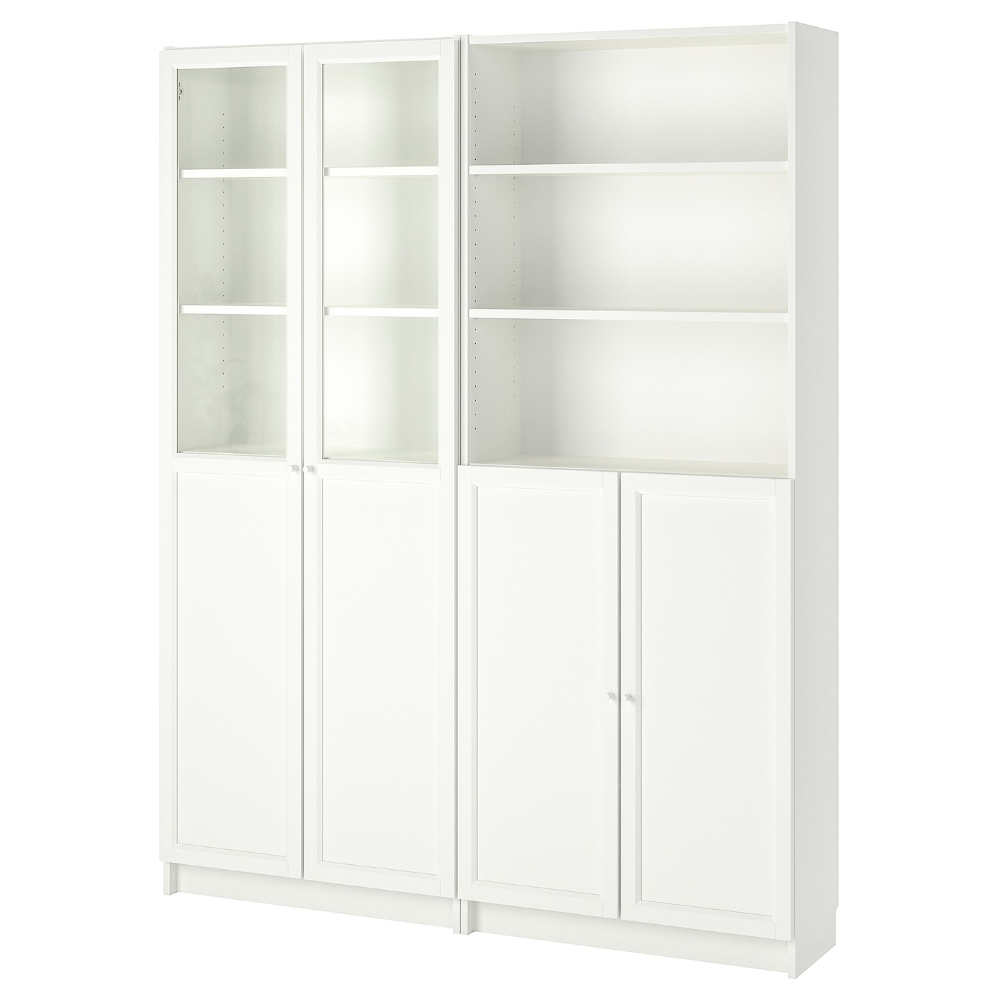 Bookcase With Panel Glass Doors Billy Oxberg White