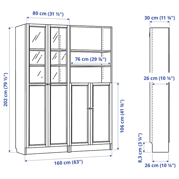 """BILLY / OXBERG Bookcase with panel/glass doors, white, 63x11 3/4x79 1/2 """""""