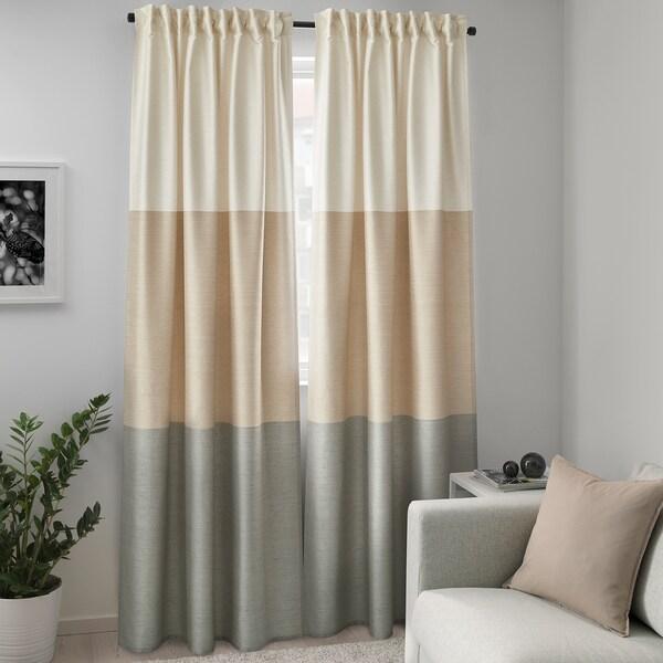 "BINDVIDE Curtains, 1 pair, gray/white beige, 57x98 """