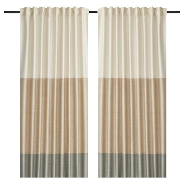 Curtains 1 Pair Bindvide Gray White Beige