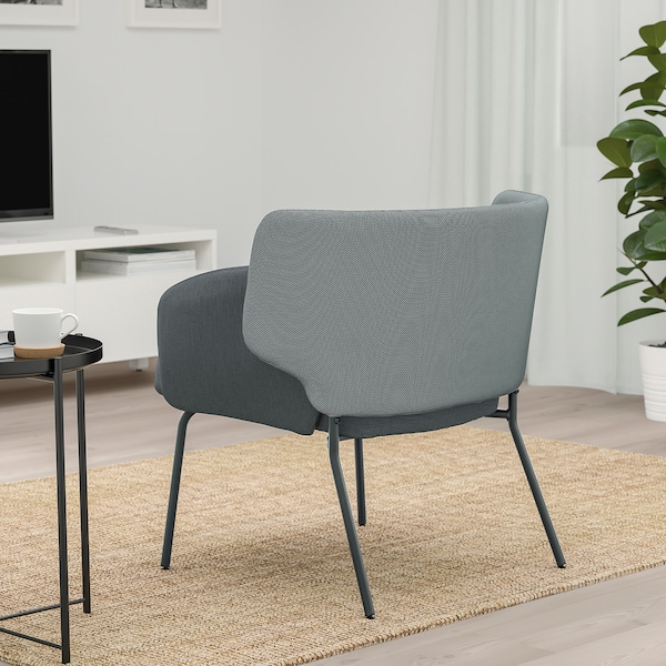 BINGSTA Armchair, Vissle dark gray/Kabusa dark gray
