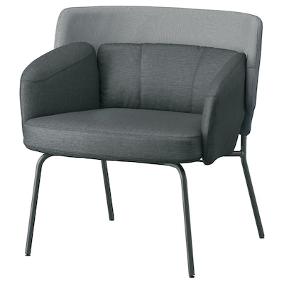 "BINGSTA armchair Vissle dark gray/Kabusa dark gray 27 1/2 "" 22 7/8 "" 29 7/8 "" 13 "" 17 3/4 """