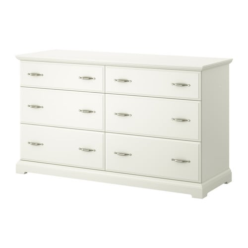 "BIRKELAND 6-drawer dresser, white Width: 63 "" Depth: 20 1/2 "" Depth of drawer: 17 3/8 "" Height: 35 7/8 "" Maximum load/drawer: 44 lb  Width: 160 cm Depth: 52 cm Depth of drawer: 44 cm Height: 91 cm Maximum load/drawer: 20 kg"